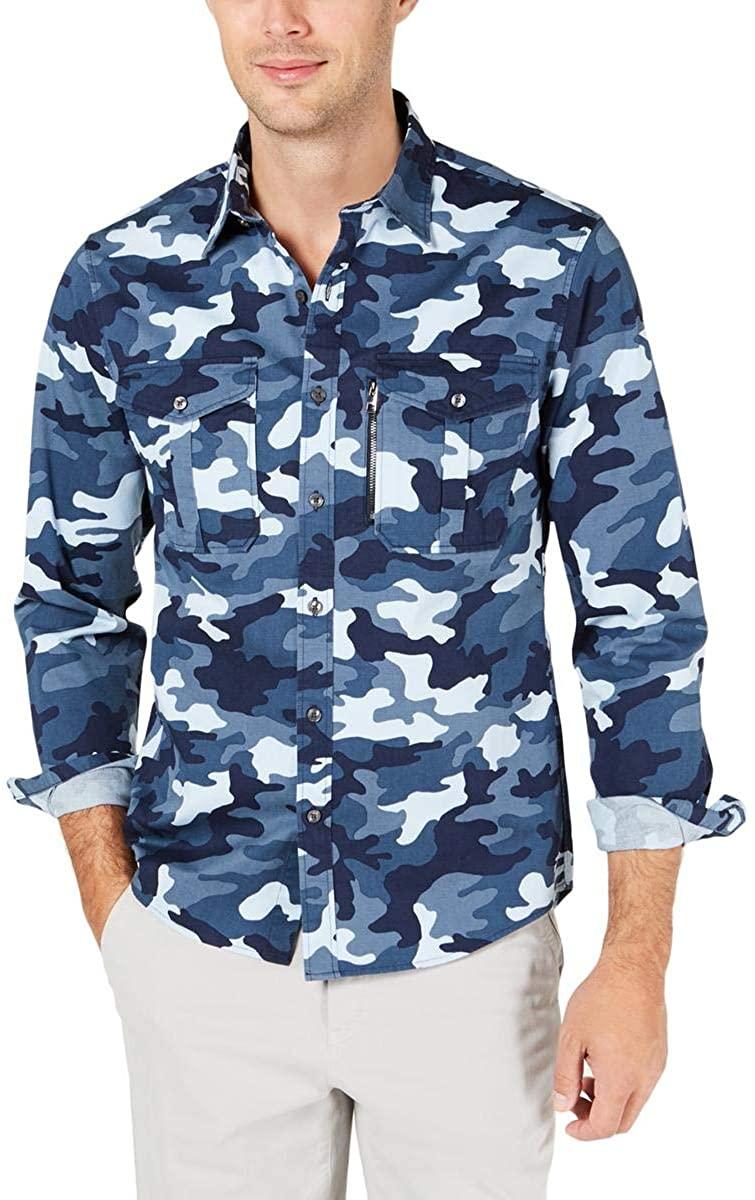 Michael Kors Mens Camo Slim Fit Button-Down Shirt