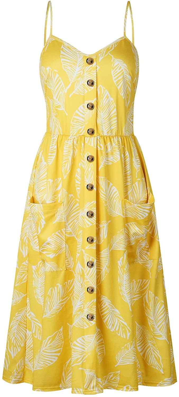 YZEECOL Womens Dress Summer Floral Bohemian Spaghetti Strap Swing Midi Dress with Pockets Yellow XXL