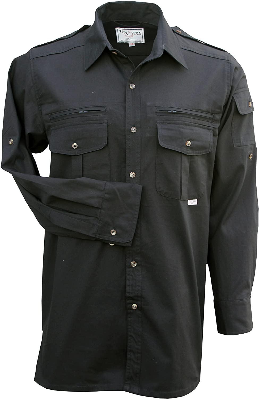Foxfire Thunder River Gear Mens Long Sleeve Cotton Travel Safari Passport Shirt (Medium, Tactical Black)