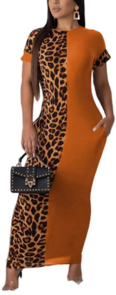 Womens Leopard Print Long Dresses - Short Sleeve Bodycon Club Midi Dress with Pockets