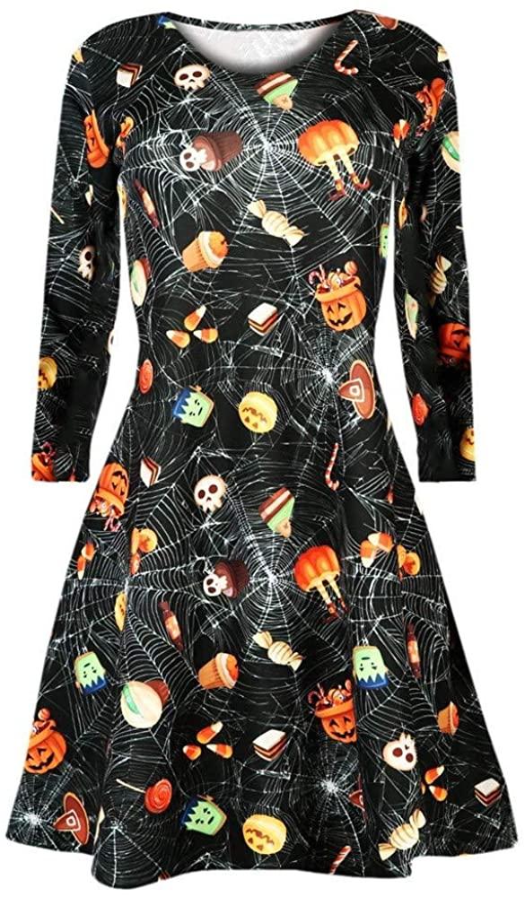 Adeliber Women's Dresses Halloween Retro Long-Sleeved O-Neck 3D Skull bat Print Party Dress