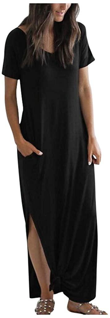 LATINDAY Women's Casual Loose Pocket Long Dress Short Sleeve Split Maxi Dresses