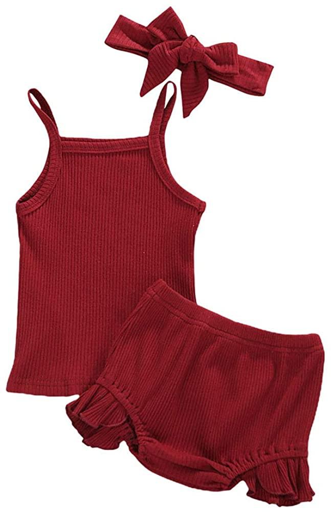 Toddler Baby Girls Knitted Short Set Sleeveless Suspender Tank Top + Ruffle Ribbed Bloomer Headband Outfit Set