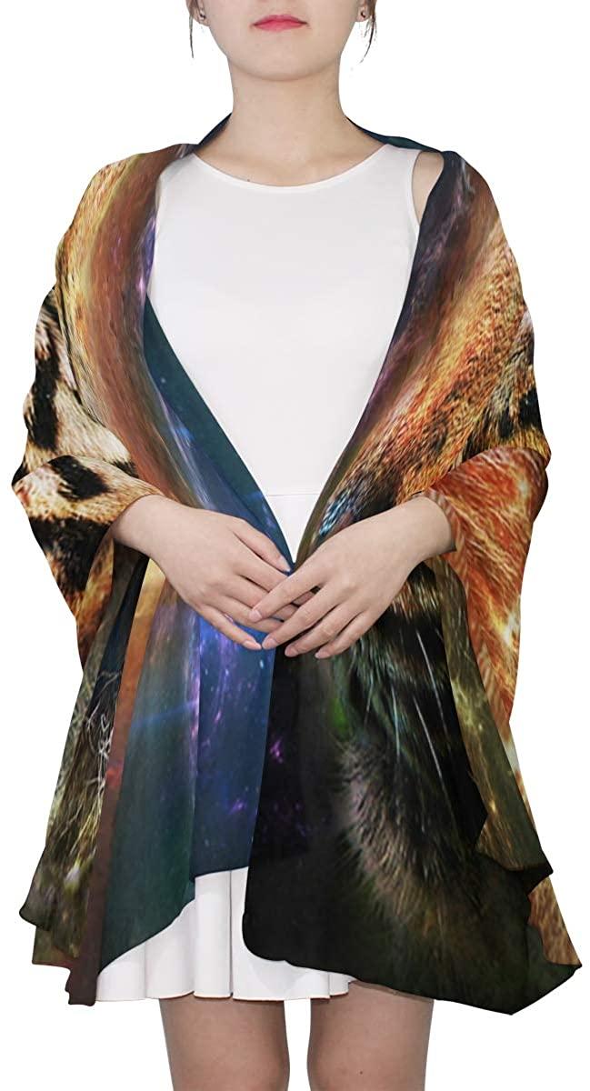 Galaxy Girl Art Sheer Scarves Shawl Wrap Outdoor Oblong Chiffon Scarf For Girls/Women