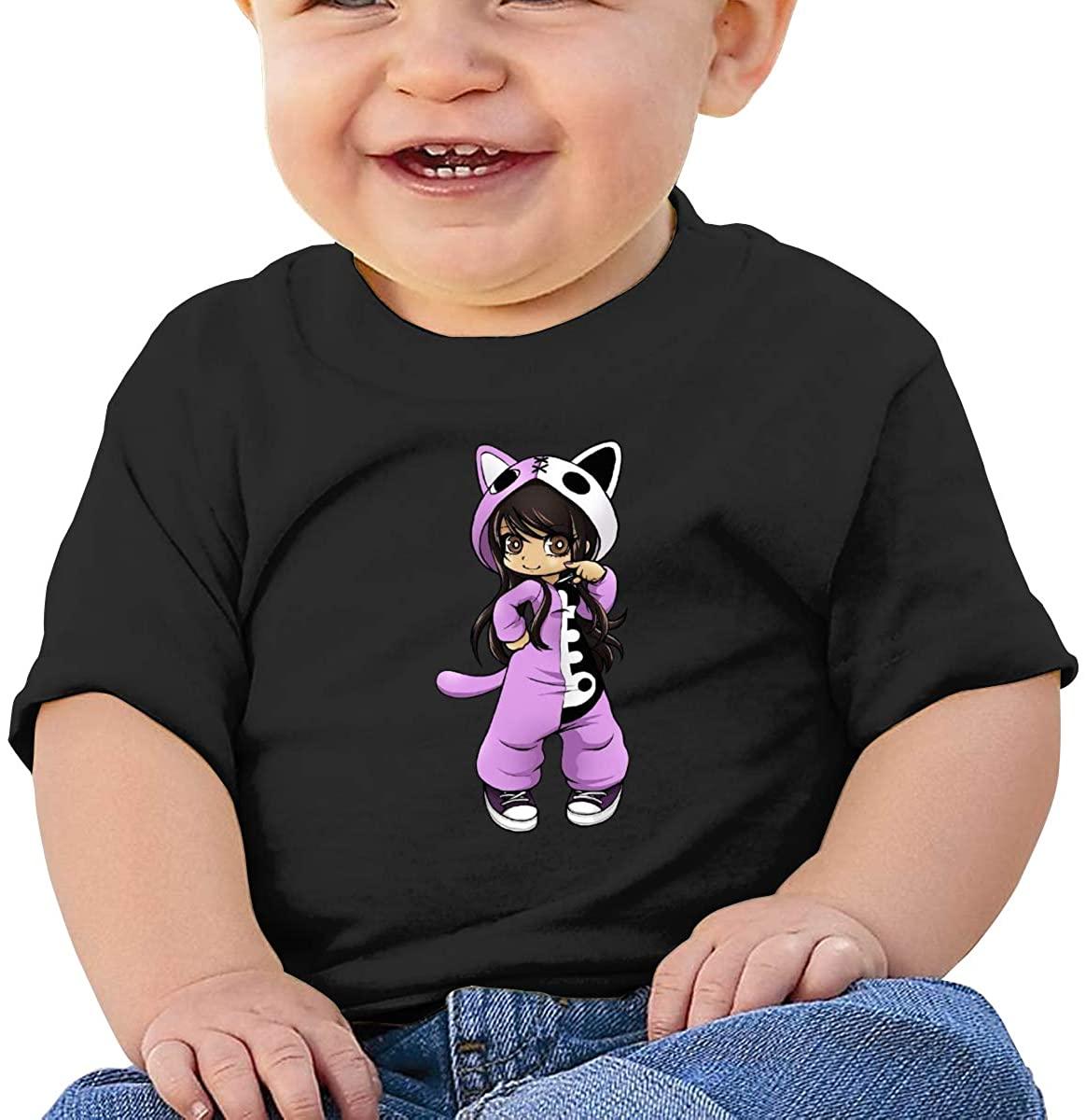6-24 Months Boy and Girl Baby Short Sleeve T-Shirt Aphmau Logo Original Minimalist Style Black