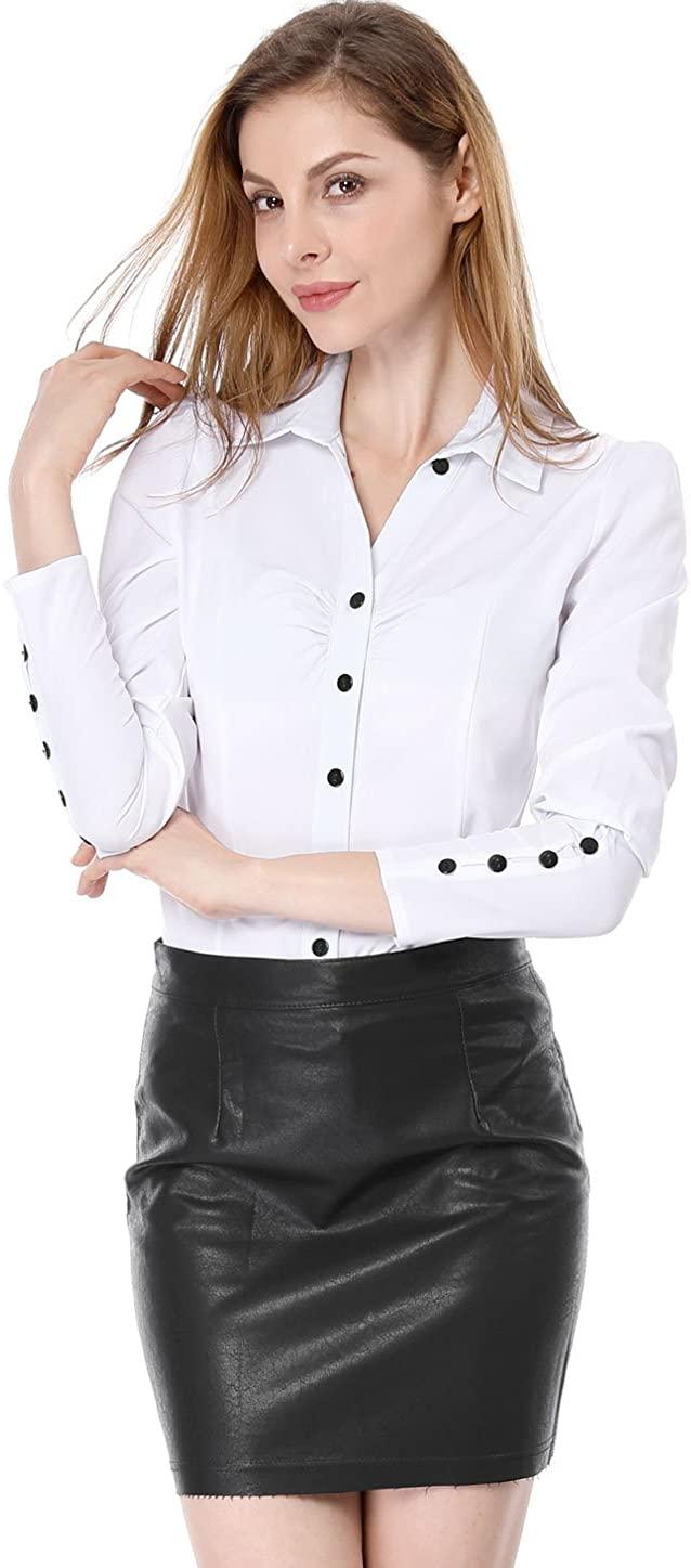 Allegra K Women's Button Down Long Sleeve Casual Office Work Ruched Shirt