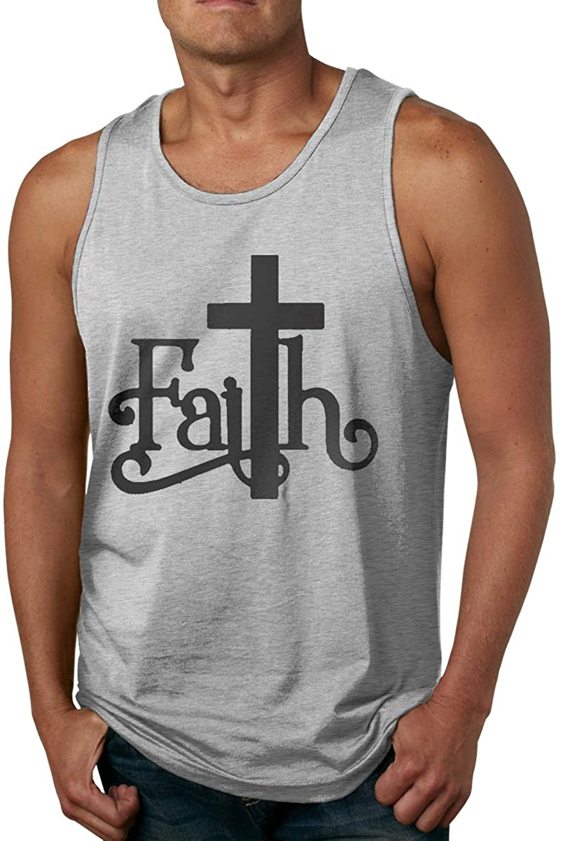 Faith with Cross Sign Men's Cotton Undershirts Crew Neck Tank Tops