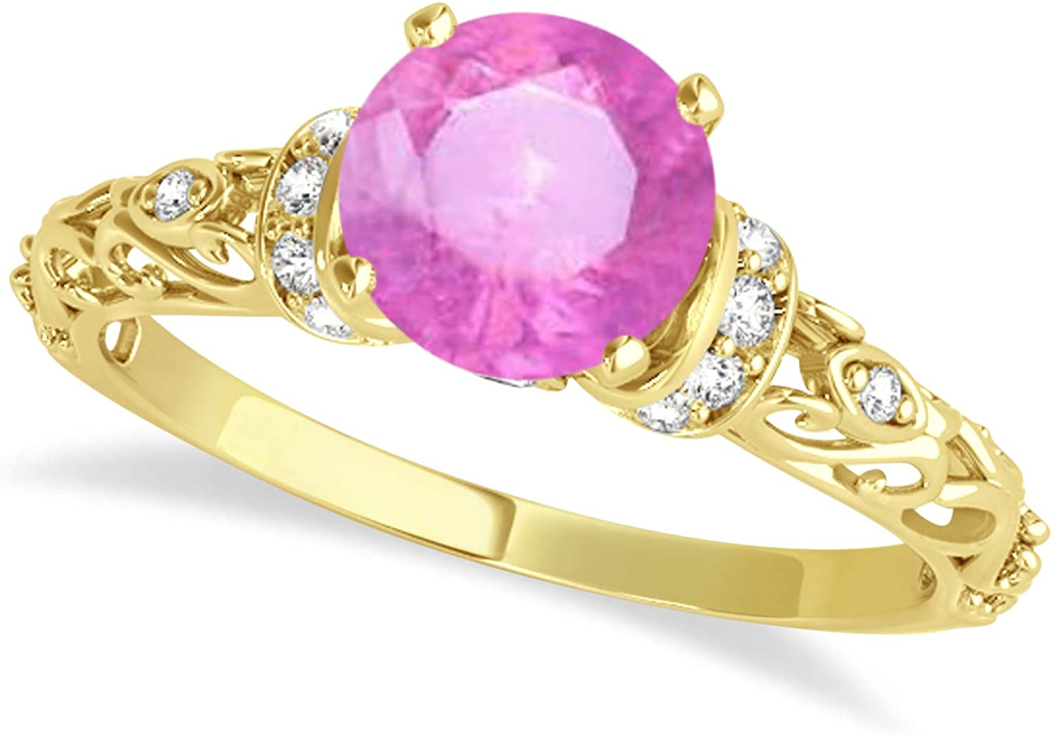 (1.62ct) 14k Yellow Gold Pink Sapphire and Diamond Antique-Style Engagement Ring