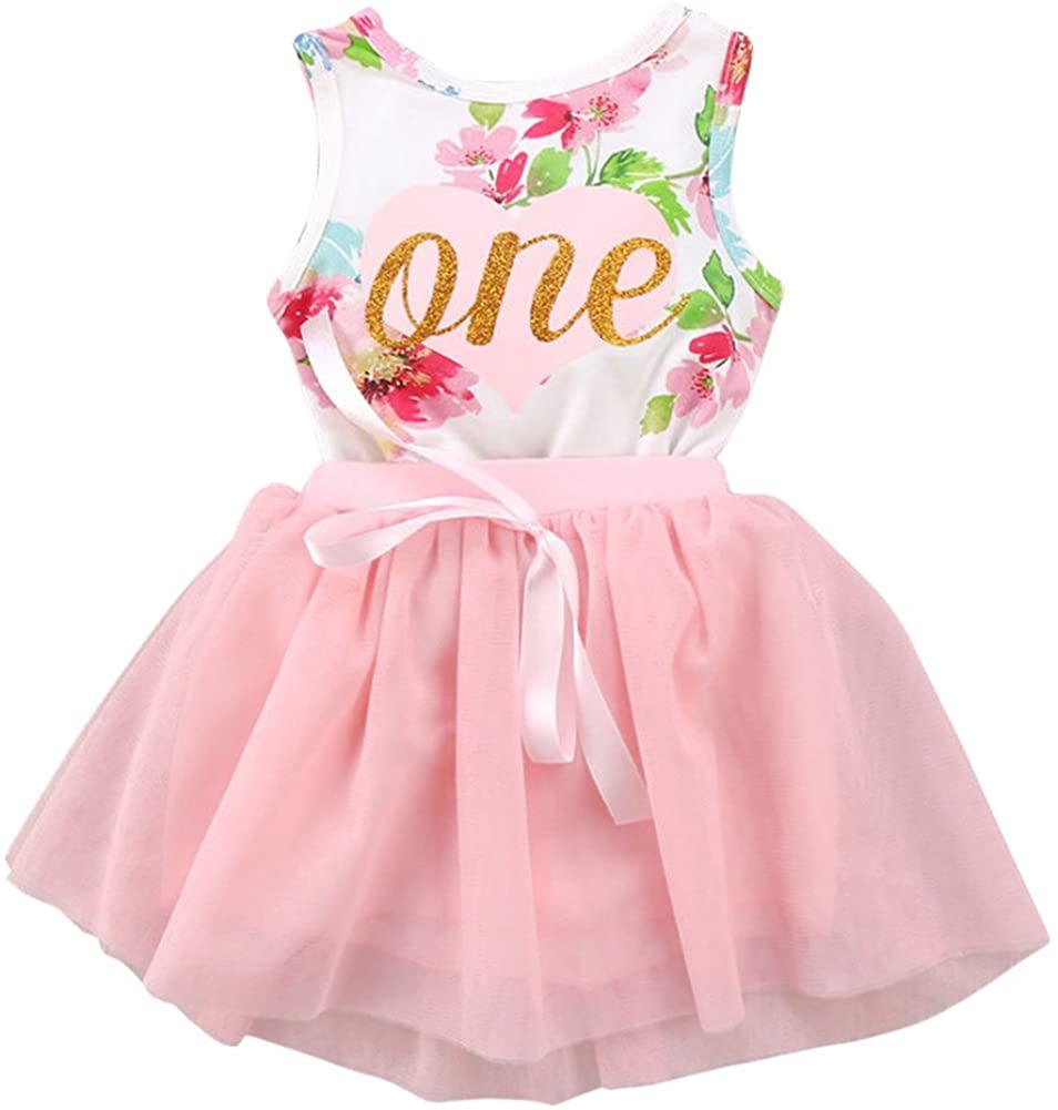 Baby Girls Tutu Dress 1st 2nd Birthday Outfits Sleeveless Bodysuit Floral Romper Top + Tulle Skirt 2Pcs Cake Smash Set