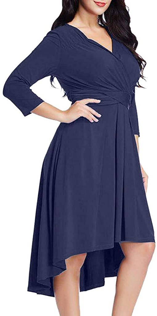UOKNICE Dresses for Womens, Casual Fashion Plus Size Solid 3/4 Sleeve Cross V Neck Solid Swing Blouses Tops Dress