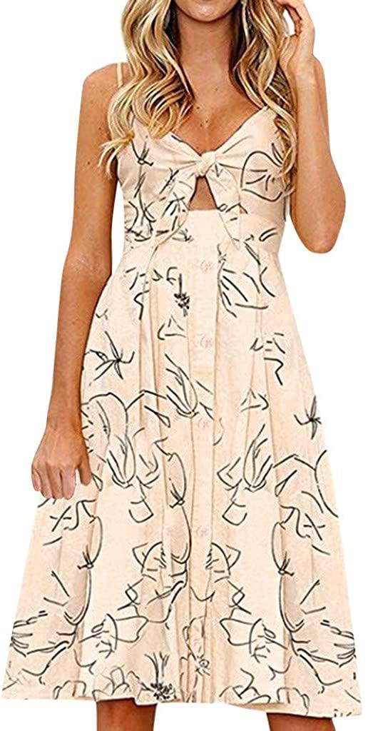 GLVSZ Women's Spaghetti Straps Sundress Backless tie Front Summer Beach Midi Dress