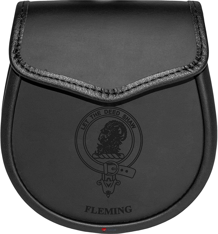 Fleming Leather Day Sporran Scottish Clan Crest