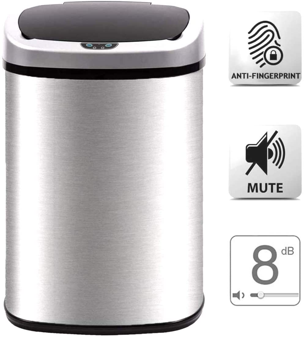 Payhere Kitchen Trash Can for Bathroom Office Home, 13 Gallon Touchless Waste Container with Lid Brushed, Stainless Steel Oval Shape Automatic Sensor 50L Commercial Garbage Bin Mute Design Silver