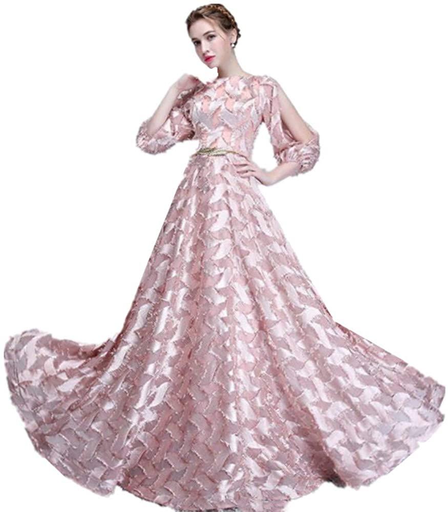 Formaldresses Blush Pink Long Prom Dress Evening Dress 3/4 Sleeves Gold Belt Long Costume