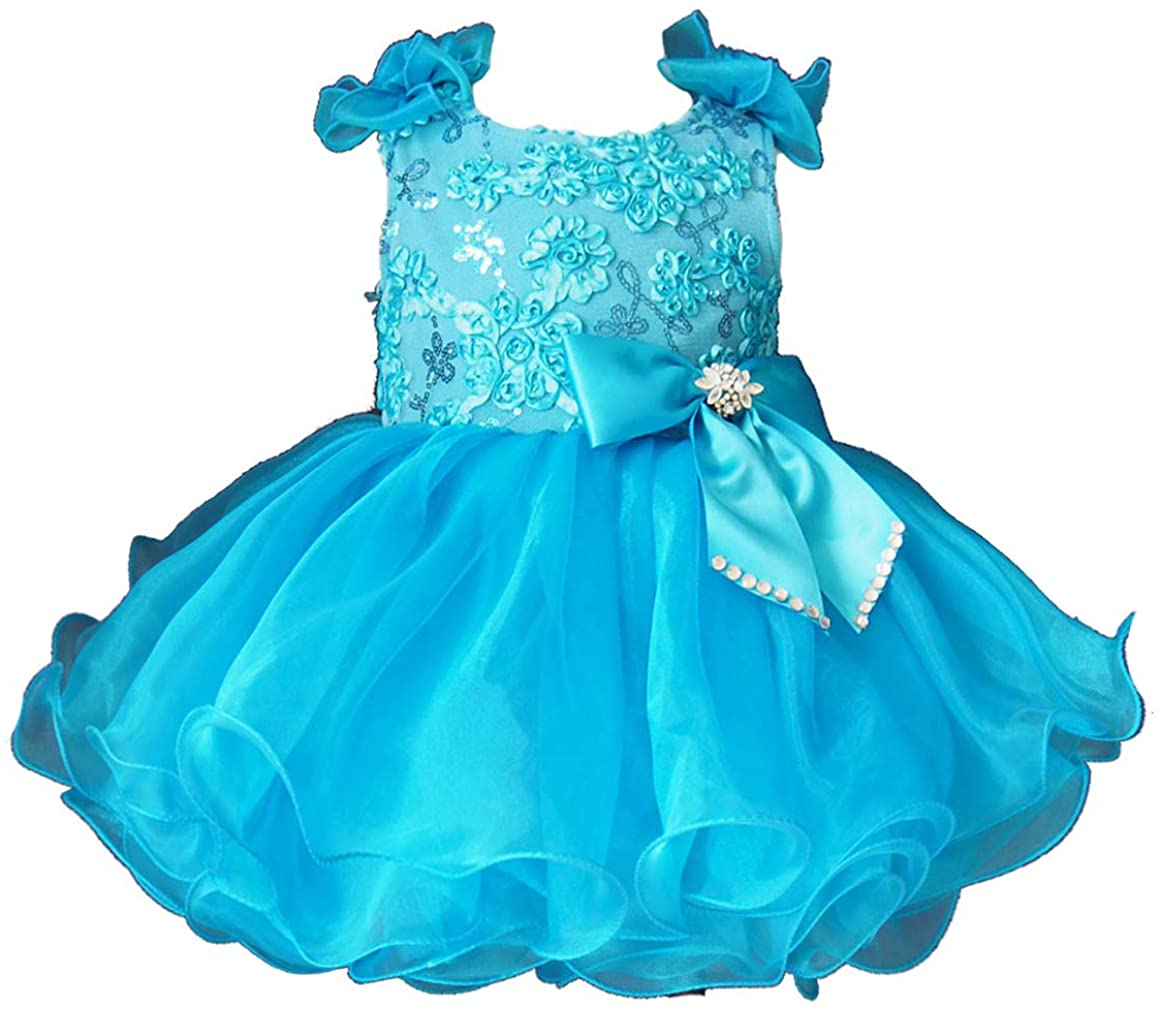 Jenniferwu Infant Toddler Baby Newborn Little Girl's Pageant Party Birthday Dress G190-1 Blue SIZE3T