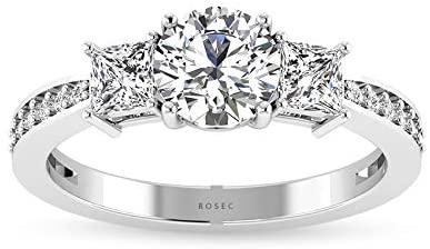 Three Stone IGI Certifeif Diamond Engagement Ring, Princess Round 3 Stone Ring with side stones.