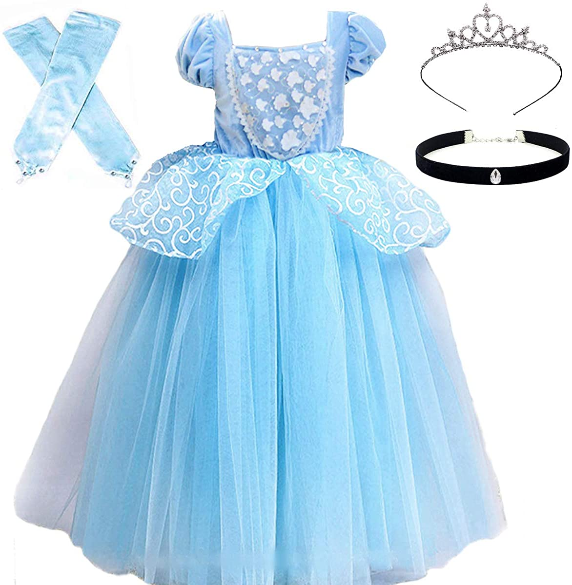 Cinderella Costumes Girls Princess Dress Up Fancy Halloween Christmas Party with Tiara and Choker Set