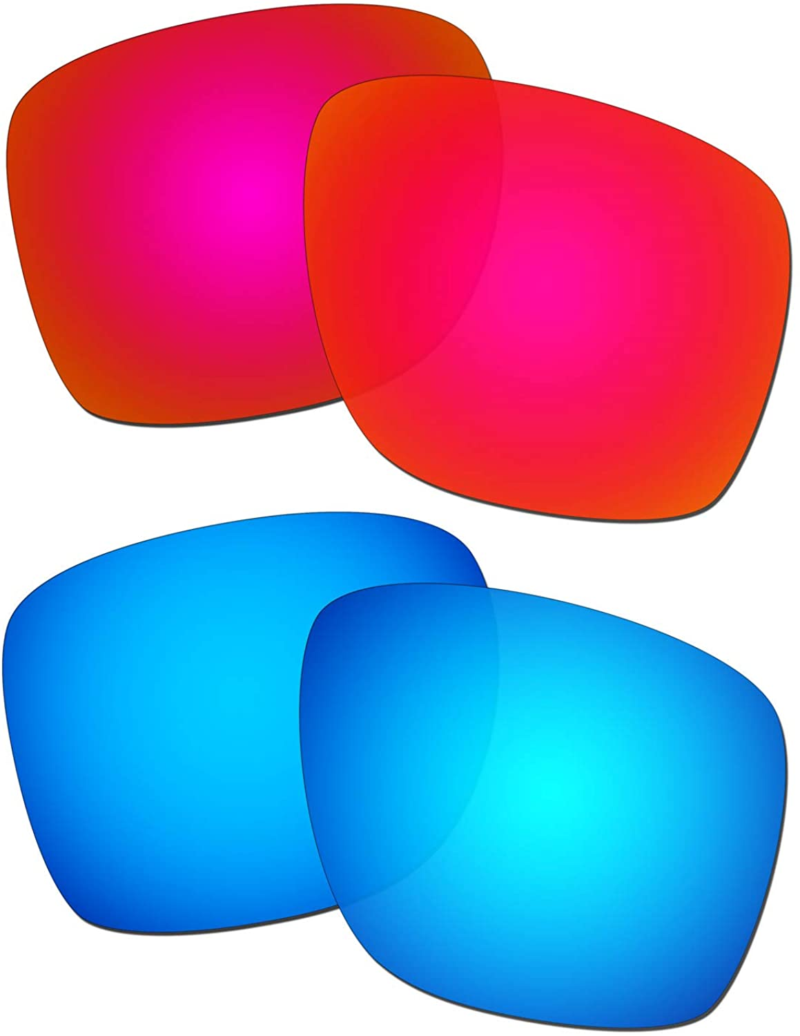 HKUCO Reinforce Replacement Lenses For Oakley Sliver XL Red/Blue Sunglasses
