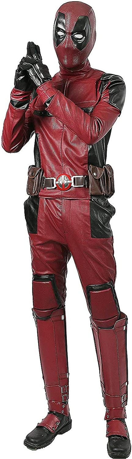 Xcoser Dead Cosplay Pool Wade Costume PU Outfit with Helmet Belt for Men