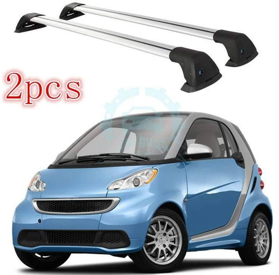 NVSKFHOSH Auto 2Pcs Aluminium Alloy Overhead Roof Rack Cross Bars Fit for Benz Smart 2008-2016