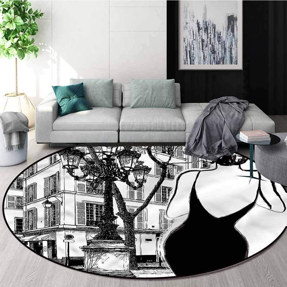 RUGSMAT Paris Print Area Rug,Young Woman in Black Dress Foam Mat Bedroom Decor Diameter-35