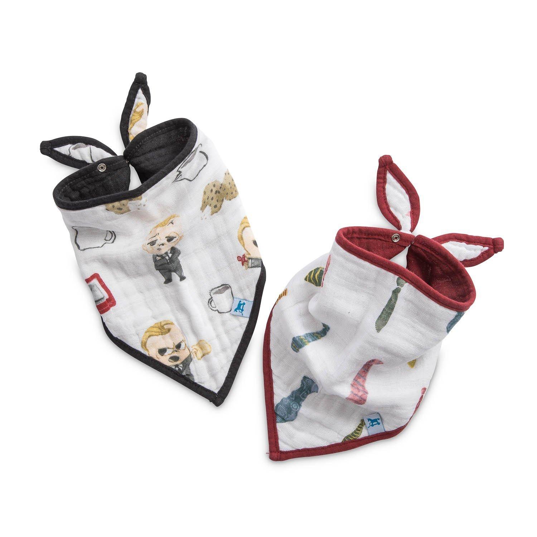 Little Unicorn Boss Baby Cotton Muslin Bandana Bib 2 Pack - Cookies are for Closers, Multi
