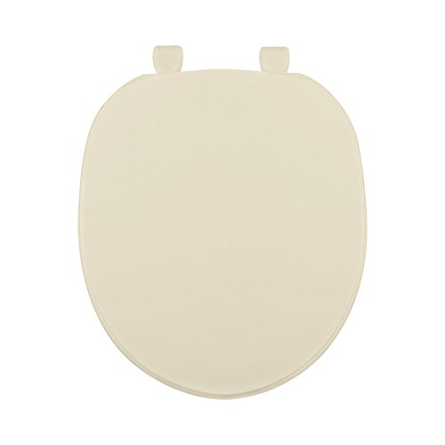 Centoco 200-106 Round Plastic Toilet Seat, Closed Front with Cover, Heavy Duty Hinge, Regular Duty Residential or Light Weight Commercial Use, Bone