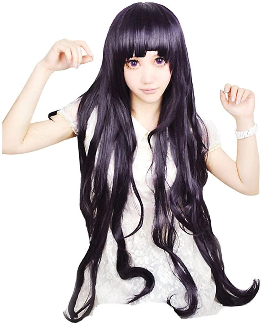 DIDACOS Mikan Tsumiki Purple Black Long Cosplay Costume Wig