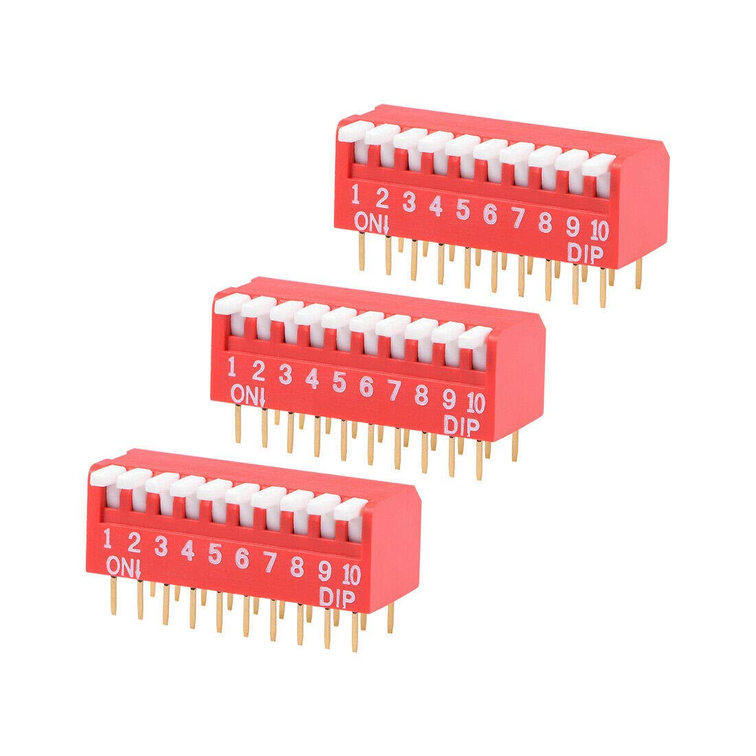 Switches 3 Pcs Red DIP Switch Piano-Dip 1-10 Positions 2.54mm Pitch for Circuit PCB