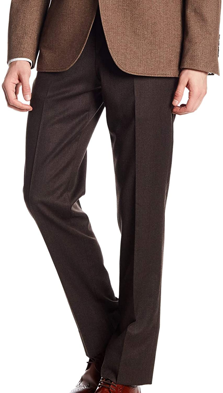 Brooks Brothers Men's Regent Fit Flannel Wool Trousers, Dark Brown