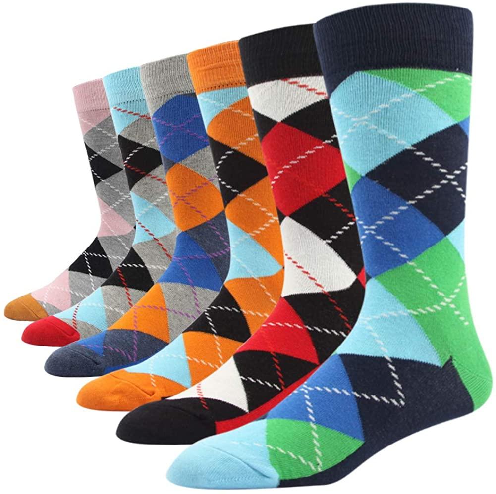 SOXART Mens Dress Socks Big & Tall 6-Pack Argyle Striped Dark Color Classic Style 10 11 12 13 14 15 16