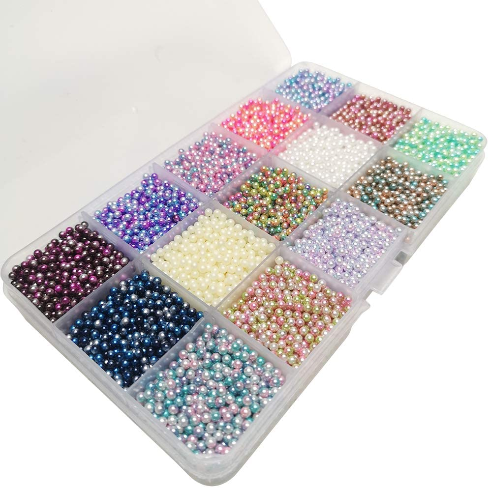 Chenkou Craft 12000pcs 2.8mm Assorted 15 Gradient Colors No Hole Round Ball Bead Scrapbooking Craft DIY Beads Decoration + Plastic Box (Gradient Colors, 2.8mm)