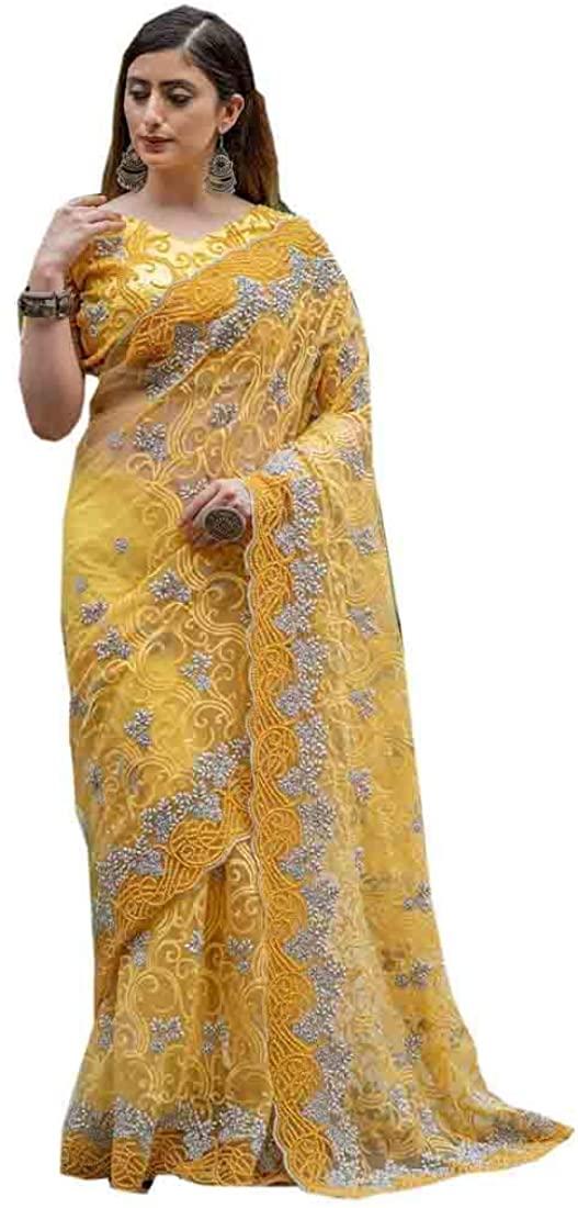 Yellow Bridal Wedding Women Pure Net Sari Indian Heavy Pearl Embellished Designer Saree Blouse Eid Muslim My