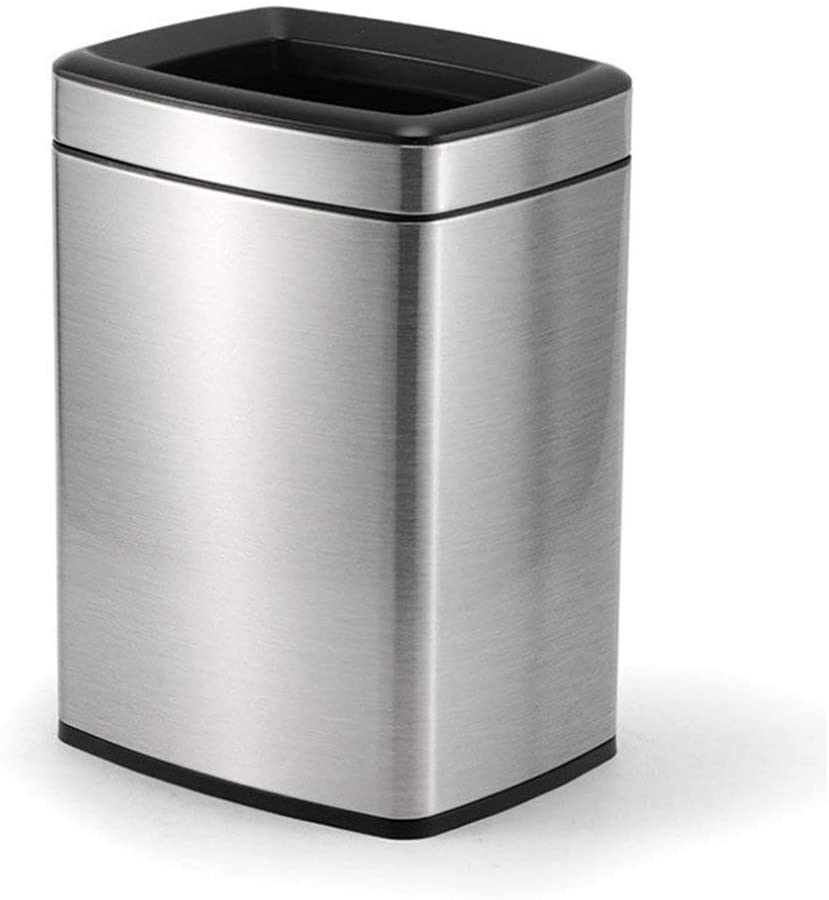 BB&UU Outdoor Trash can Stainless Steel Trash Can, Without Cover Stainless Steel Trash Can Large Household Living Room Kitchen Hotel Bedroom Commercial Trash Can 6-12L (Color : A, Size : 6L)
