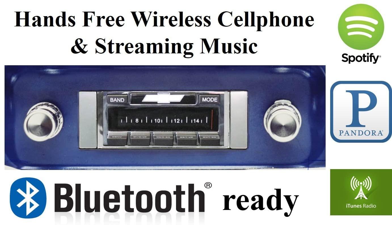 Bluetooth Enabled 1964-1966 Chevy Truck USA-630 II High Power 300 watt AM FM Car Stereo/Radio USB, Aux, iPod inputs
