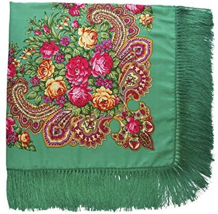Winter Soft Chenille Net Tassle Fringe Thick Knit Infinity Scarf Wrap (Green)