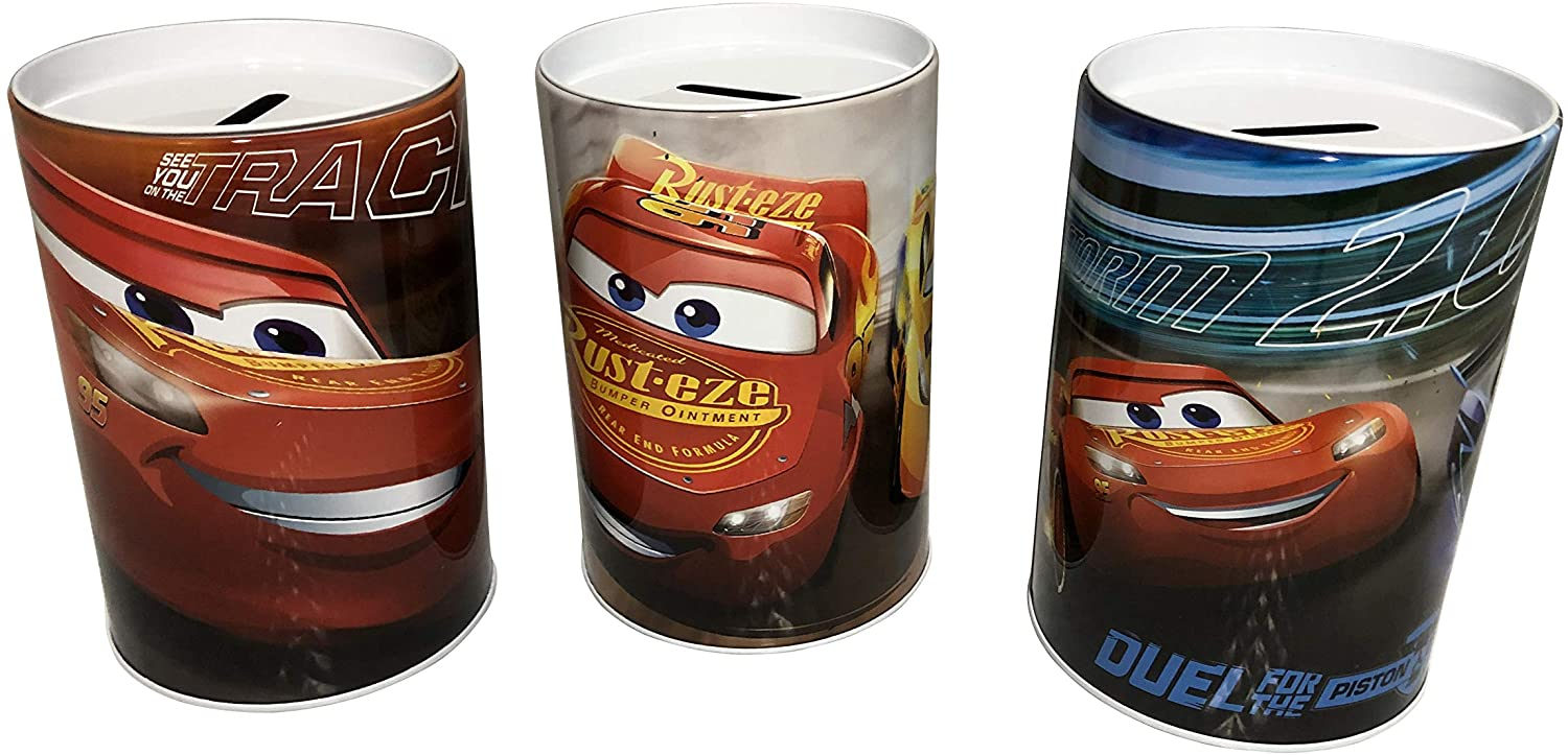 The Tin Box Company Set of 3 Cars Saving Money Coin Banks. Different Pictures as Shown. Lightning McQueen
