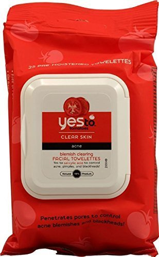 Yes to Tomatoes Blemish Clearing Facial Towelettes, Clear Skin Acne 25 ea (Pack of 2)