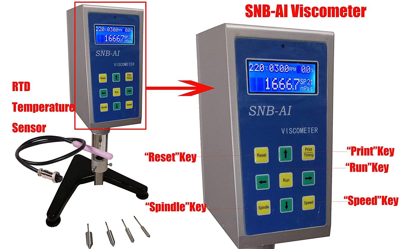 HFBTE SNB-AI Multi-Speed Rotational Viscometer Viscosity Meters Tester with RTD Temperature Sensor 50~10,000,000mPa.s Measurement Range