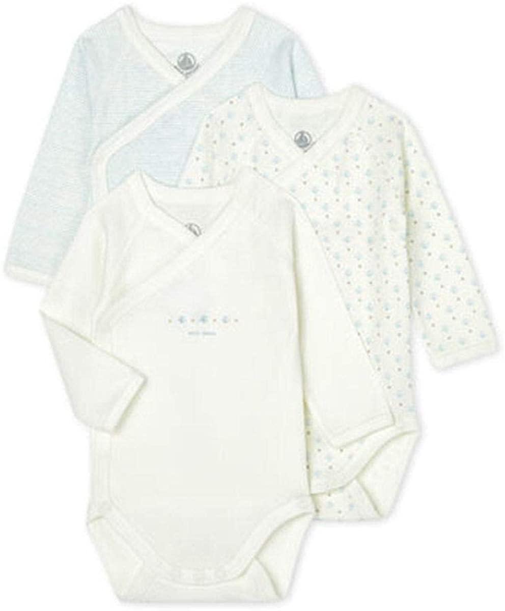 Petit Bateau - Babies Long-Sleeved Bodysuit - 3-Piece Set - 3 Months Blue