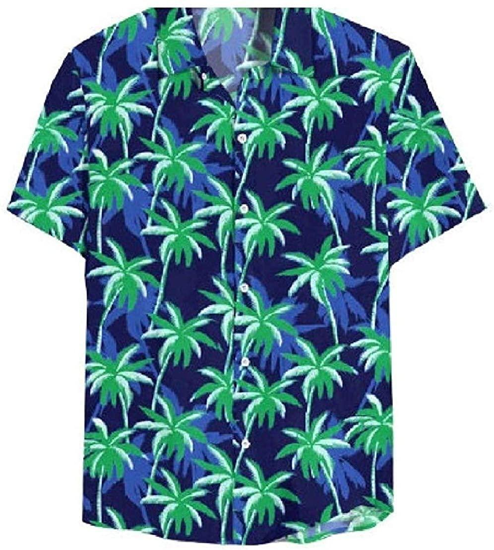 KLJR Mens Splicing Lapel Tops Dress Shirt Short Sleeve Patterned Personalized