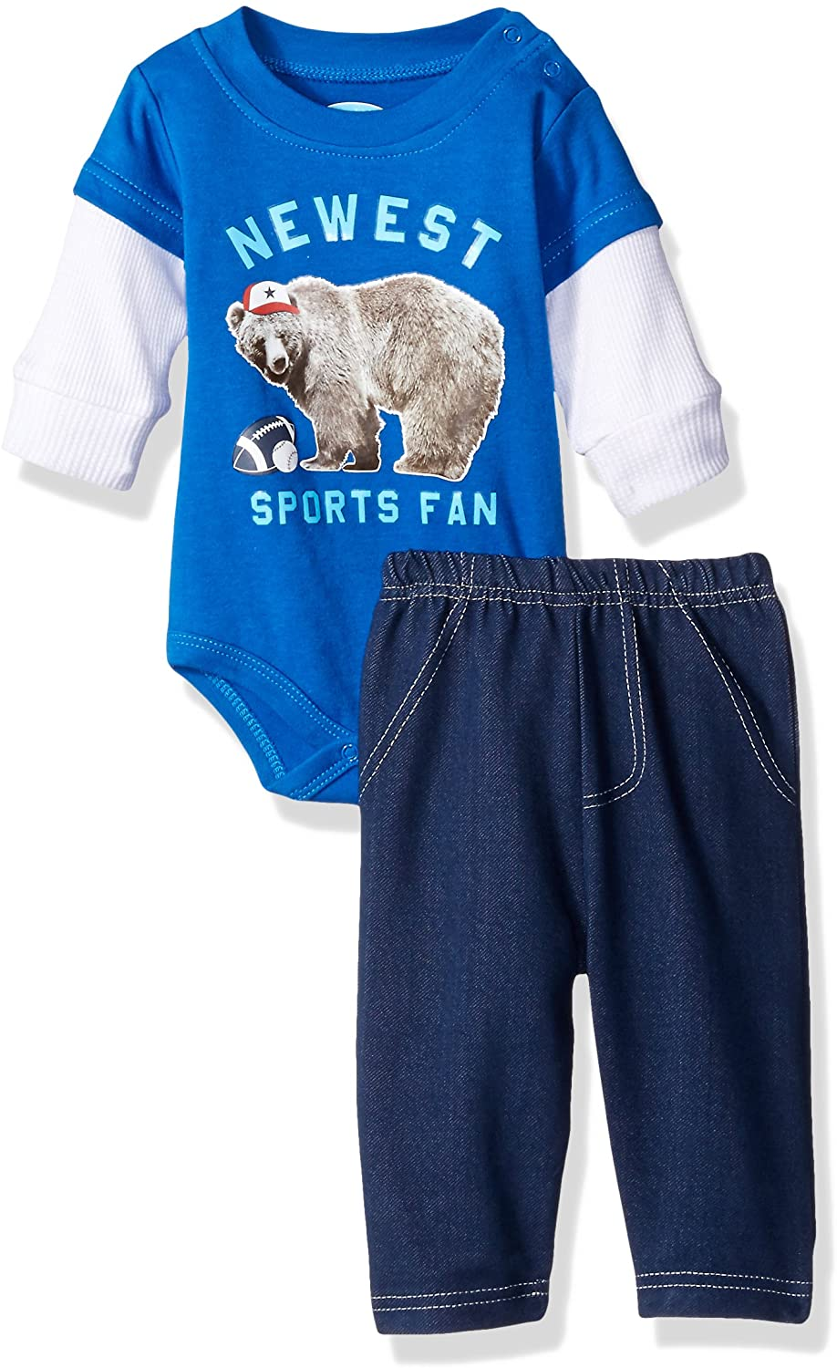 BON BEBE Baby Boys 2 Piece Longsleeve Side Snap Bodysuit and Denim Pant Set