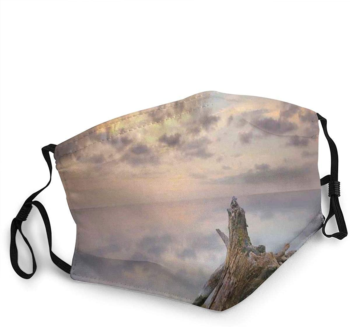 BOKUTT Facial Decorations,Sunrise On The Water And Driftwood On The Sandy Beach Digital Image,Bandana Headwear With masks-Windproof and dustproof, reusable