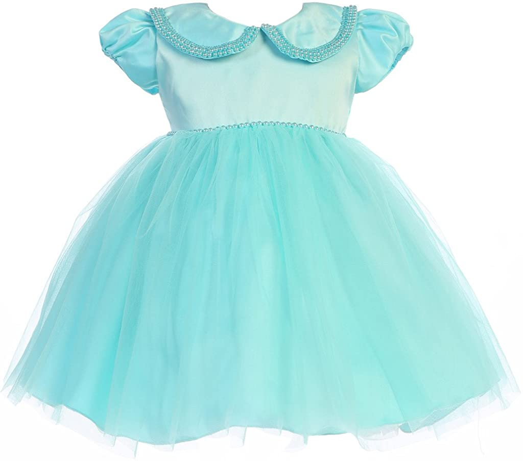 BNY Corner Satin Pearl Collar Tulle Easter Baby Toddler Infant Flower Girl Dress