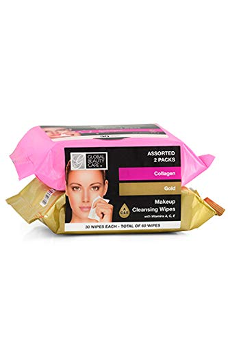 Multi Pack of Makeup Cleansing Wipes Collagen and Gold