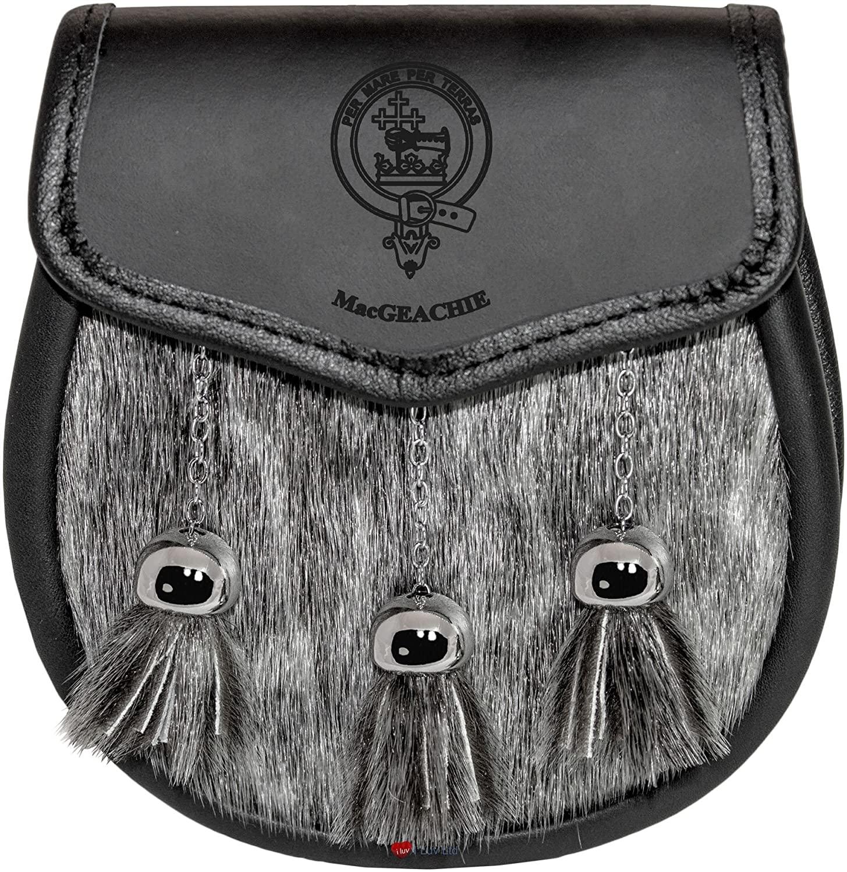 MacGeachie Semi Sporran Fur Plain Leather Flap Scottish Clan Crest