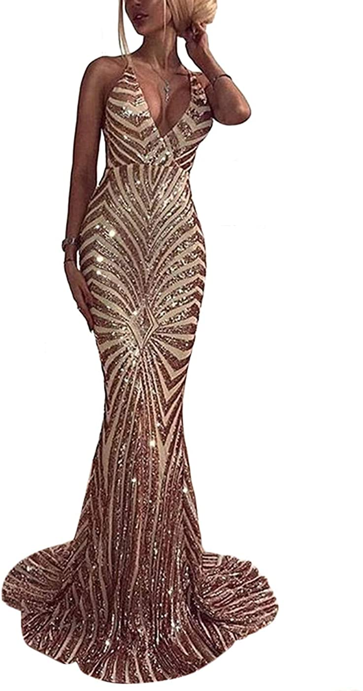 Ohvera Womens Spaghetti Strap Sequined V Neck Party Cocktail Evening Prom Gown Mermaid Maxi Long Dress
