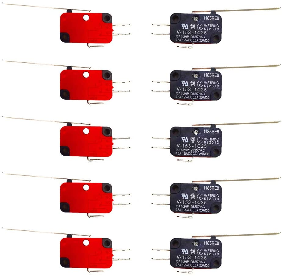 Hyamass 10Pcs V-153-1C25 Micro Limit Switch Long Hinge Roller Momentary Cherry Push Button SPDT Snap Action Perfect for Arduino, Appliance and Electronic Equipment