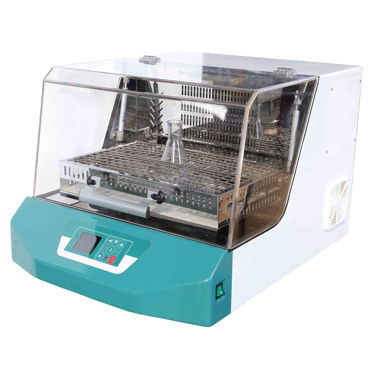 MXBAOHENG 50L Lab Thermostatic Shaker Temperature Controlled Incubator Oscillator for Bacterial Equipment 30~300rpm w/ 8pcs 250ml Standard Flask Clamps (220V)