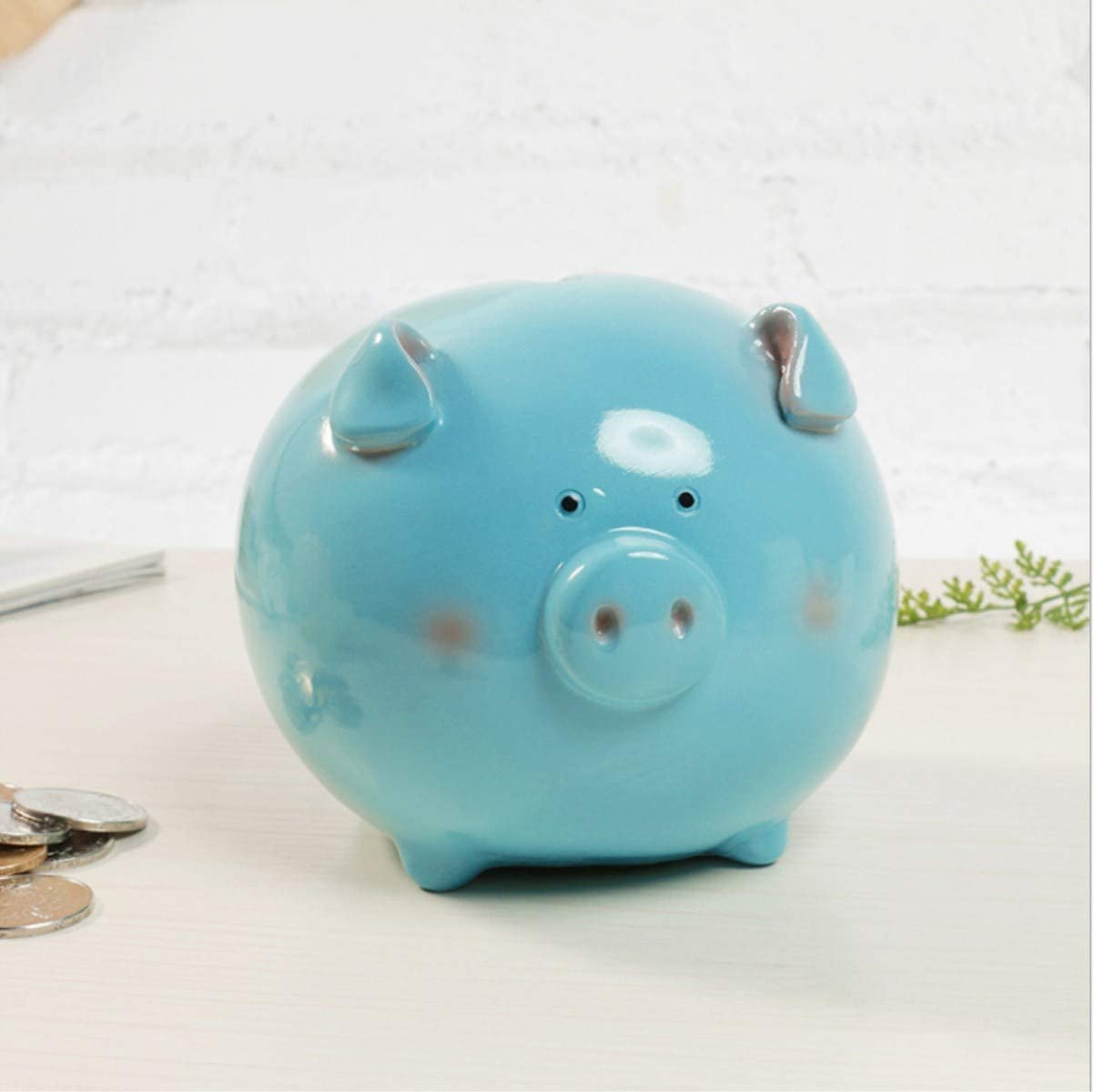 Estars Pig Piggy Coin Money Savings Bank for Quarters Cashes for Birthday Gift (Blue)